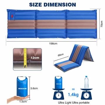 SGODDE Isomatte, 3-faltbar Handpresse Aufblasbare Matratzen, Erweiterbar 12 cm dick Camping Selbstaufblasbare Luftmatratze, Ultraleicht und Tragbare,Wasserdicht und Rutschfest Schlafmatte 198*70*12cm - 3