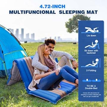 SGODDE Isomatte, 3-faltbar Handpresse Aufblasbare Matratzen, Erweiterbar 12 cm dick Camping Selbstaufblasbare Luftmatratze, Ultraleicht und Tragbare,Wasserdicht und Rutschfest Schlafmatte 198*70*12cm - 5