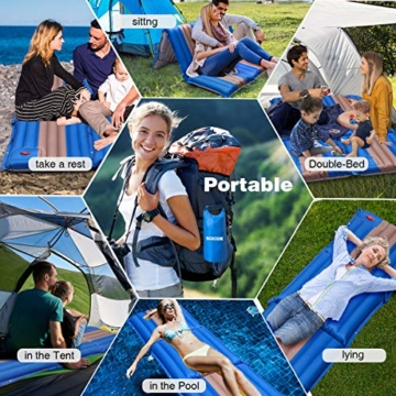 SGODDE Isomatte, 3-faltbar Handpresse Aufblasbare Matratzen, Erweiterbar 12 cm dick Camping Selbstaufblasbare Luftmatratze, Ultraleicht und Tragbare,Wasserdicht und Rutschfest Schlafmatte 198*70*12cm - 7