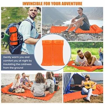 SGODDE Isomatte Camping Selbstaufblasbare, Fußpresse Aufblasbare,leichte Rucksackmatte für Wanderungen zum Wandern auf Reisen,langlebige wasserdichte Luftmatratze kompakte Wandermatte Orange - 2