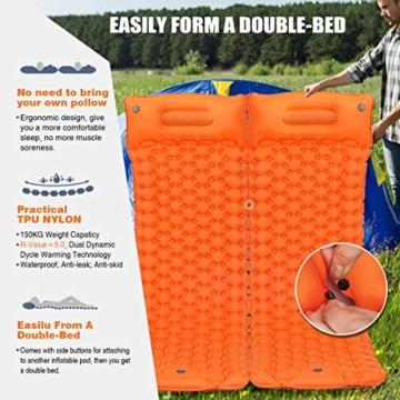 SGODDE Isomatte Camping Selbstaufblasbare, Fußpresse Aufblasbare,leichte Rucksackmatte für Wanderungen zum Wandern auf Reisen,langlebige wasserdichte Luftmatratze kompakte Wandermatte Orange - 4