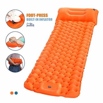 SGODDE Isomatte Camping Selbstaufblasbare, Fußpresse Aufblasbare,leichte Rucksackmatte für Wanderungen zum Wandern auf Reisen,langlebige wasserdichte Luftmatratze kompakte Wandermatte Orange - 1