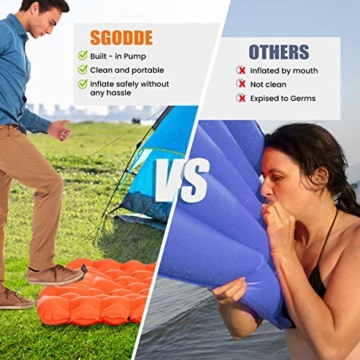 SGODDE Isomatte Camping Selbstaufblasbare, Fußpresse Aufblasbare,leichte Rucksackmatte für Wanderungen zum Wandern auf Reisen,langlebige wasserdichte Luftmatratze kompakte Wandermatte Orange - 6
