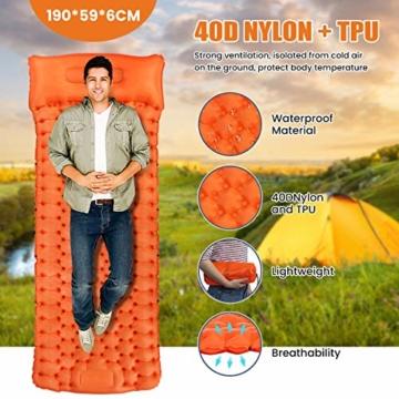 SGODDE Isomatte Camping Selbstaufblasbare, Fußpresse Aufblasbare,leichte Rucksackmatte für Wanderungen zum Wandern auf Reisen,langlebige wasserdichte Luftmatratze kompakte Wandermatte Orange - 7