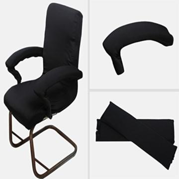 Sharplace 2 STK. Elastische Armauflage, Armlehnen Polster, Ellenbogen Kissen für Drehstuhl Bürostuhl - Schwarz - 7