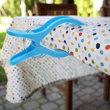 sinzau 8 PCS Jumbo Größe Strandtuch Clips, Vier Farben Wäscheklammern Kunststoff Clips Handtuch Klammer für Strand Pool tägliche Wäsche, schwere Badetuch etc - 2