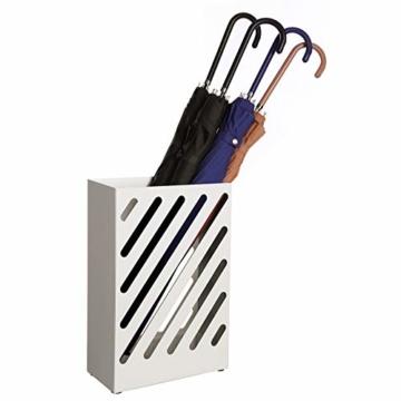 SONGMCIS Regenschirmständer, Schirmständer, rechteckig, aus Metall, mit Haken und Wasserauffangschale, Cutout-Design, weiß LUC03WT - 3