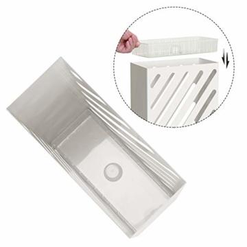 SONGMCIS Regenschirmständer, Schirmständer, rechteckig, aus Metall, mit Haken und Wasserauffangschale, Cutout-Design, weiß LUC03WT - 5
