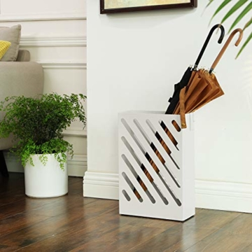 SONGMCIS Regenschirmständer, Schirmständer, rechteckig, aus Metall, mit Haken und Wasserauffangschale, Cutout-Design, weiß LUC03WT - 7