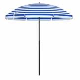 SONGMICS Sonnenschirm, Ø 180 cm, Sonnenschutz, achteckiger Strandschirm aus Polyester, Schirmrippen aus Glasfaser, knickbar, mit Tragetasche, Garten, Balkon, Schwimmbad, blau-weiß gestreift GPU65WU - 1