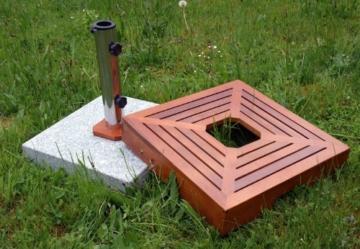 SONLEX Attraktiver Sonnenschirmständer aus Granit mit exklusiver Holzabdeckung, Edelstahlhülse und Reduzierring, quadratisch, 25 kg, braun - 3