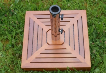 SONLEX Attraktiver Sonnenschirmständer aus Granit mit exklusiver Holzabdeckung, Edelstahlhülse und Reduzierring, quadratisch, 25 kg, braun - 5