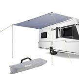 Sonnensegel für Wohnwagen Wohnmobil und Bus | grau | 2,50 x 2,4 | für Kederleisten 7 mm | Wassersäule 2000 mm | inkl. Aufstellstangen - 1