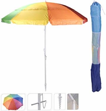 Spetebo Sonnenschirm bunt 220 cm inkl. Bodenhülse - 50+ UV Schutz - Strandschirm Gartenschirm Schirm mit Knickgelenk - 1