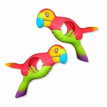 STARTER 2er-Pack Strandtuchklammern, Parrot Bird Kunststoff-Strandtuchklammern, Damit Ihr Handtuch Nicht Wegbläst - 1