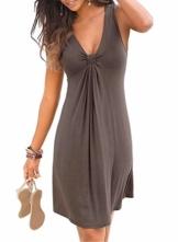 Strandkleider Damen Sommer Kurz Casual Ärmellos A Linie Kleid Minikleid Sommerkleid (Kaffee, M) - 1