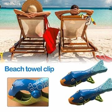 Strandtuch Clips Klammern Fisch Flip Flop 2 Stück Große Wäscheklammern Kunststoff Clips Mehrzweck Klammer Pool Kleidung Clip für Tägliche Wäsche, Strandtuch, Badetuch - 4