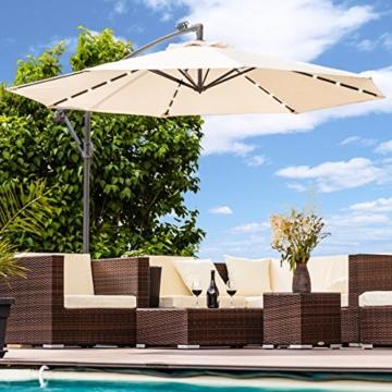 Swing&Harmonie Sonnenschirm mit LED Beleuchtung Ampelschirm 300cm / 350cm Solar Garten Schirm Pavillon (Ø 350cm, Creme) - 5