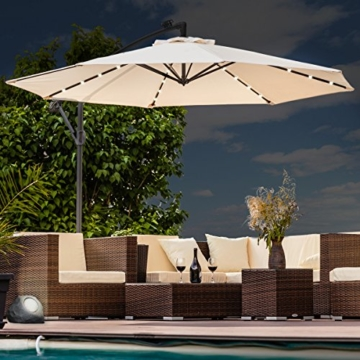 Swing&Harmonie Sonnenschirm mit LED Beleuchtung Ampelschirm 300cm / 350cm Solar Garten Schirm Pavillon (Ø 350cm, Creme) - 1