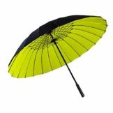 ThreeH Regenschirm Golfschirm Wasserabweisend Sturmfester Doppelter Baldachin Groß Stockschirm KS12,Yellow - 1