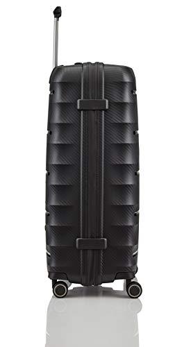 TITAN 4-Rad Koffer L groß mit TSA Schloss, Gepäck Serie HIGHLIGHT: Leichte Hartschalen Trolleys im Carbon Look, 842404-01, 75 cm, 107 Liter, black (schwarz) - 8