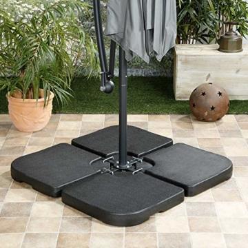 ToCi 4 x Sonnenschirmständer - Gewichte im Set | Element je 50 x 50 x 7.5 cm | zum Befüllen mit Sand/Wasser und bis zu 80 kg - 3