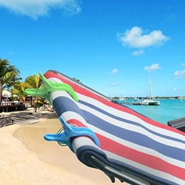 TOKERD 10 Stück Extra Groß Strandtuchklammern XXL Wäscheklammern Strandtuch Clips Kunststoff Klammern Jumbo Größe Handtuch Klammern für Strand Pool Tägliche Wäsche, Schwere Badetuch - 4
