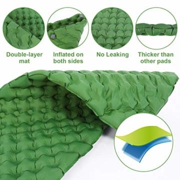 Tolaccea Isomatte aufblasbar Sleeping Pad Camping Luftmatratze aufblasbare Isomatte Camping Isomatte Isomatte Ultraleicht Isomatte Doppelschicht Anti-Leck - 2