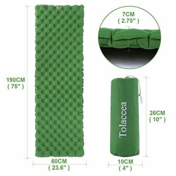 Tolaccea Isomatte aufblasbar Sleeping Pad Camping Luftmatratze aufblasbare Isomatte Camping Isomatte Isomatte Ultraleicht Isomatte Doppelschicht Anti-Leck - 4