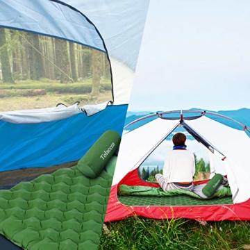Tolaccea Isomatte aufblasbar Sleeping Pad Camping Luftmatratze aufblasbare Isomatte Camping Isomatte Isomatte Ultraleicht Isomatte Doppelschicht Anti-Leck - 5