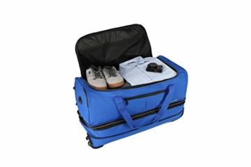 travelite 2-Rad Trolley Reisetasche Gr. L mit Dehnfalte, Gepäck Serie BASICS: Weichgepäck Reisetasche mit Rollen mit extra Volumen, 096276-20, 70 cm, 98 Liter (erweiterbar auf 119 Liter) marine - 4
