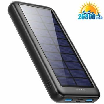 Trswyop Solar Powerbank 26800mAh, Solar Ladegerät 【3 Eingang mit Type C】 Power Bank USB-C Hohe Kapazitat Externer Akku mit 2 Ausgängen Tragbares Solar Akkupack für iPhone,iPad, Samsung, Huawei mehr - 1