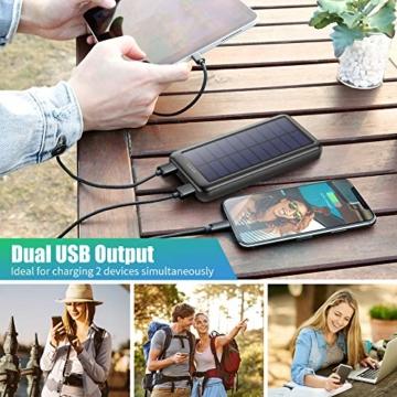 Trswyop Solar Powerbank 26800mAh, Solar Ladegerät 【3 Eingang mit Type C】 Power Bank USB-C Hohe Kapazitat Externer Akku mit 2 Ausgängen Tragbares Solar Akkupack für iPhone,iPad, Samsung, Huawei mehr - 6