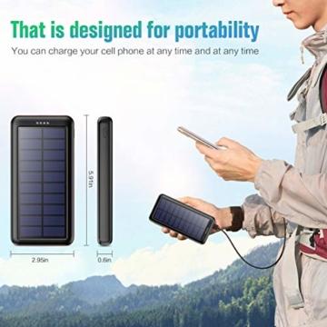 Trswyop Solar Powerbank 26800mAh, Solar Ladegerät 【3 Eingang mit Type C】 Power Bank USB-C Hohe Kapazitat Externer Akku mit 2 Ausgängen Tragbares Solar Akkupack für iPhone,iPad, Samsung, Huawei mehr - 7