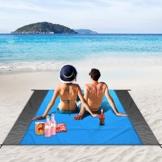 unibelin Picknickdecke Stranddecke 210 x 200 cm Campingdecke Sandabweisende Wasserdicht Strandmatte mit 4 Befestigung Ecken Ultraleicht Stranddecke für Strand, Camping und Picknick - 1