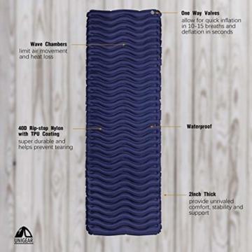 Unigear Camping Isomatte, Aufblasbare Luftmatratze Camping, Schlafmatte für Outdoor, Feuchtigkeitsbeständig Wasserdicht und rutschfest, MEHRWEG (Dunkelblau) - 6