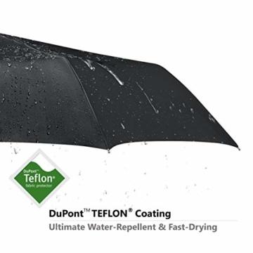 VAN BEEKEN Regenschirm sturmfest bis 140 km/h - Kleiner Leichter und kompakter Damen Herren Schirm mit Auf-Zu-Automatik - windsicherer Taschenschirm mit Etui, Tasche und Teflon-Beschichtung, Schwarz - 3