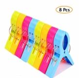 Voarge 8 Stück Handtuchklammer Strandtuchklammer Plastik 4 Farben Clips Groß Kleider Trocknen Klammer für Wäsche, Strandtuch, Badetuch, Teppich etc - 1