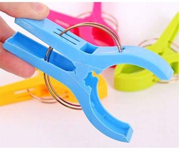 Voarge 8 Stück Handtuchklammer Strandtuchklammer Plastik 4 Farben Clips Groß Kleider Trocknen Klammer für Wäsche, Strandtuch, Badetuch, Teppich etc - 3