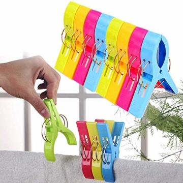 Voarge 8 Stück Handtuchklammer Strandtuchklammer Plastik 4 Farben Clips Groß Kleider Trocknen Klammer für Wäsche, Strandtuch, Badetuch, Teppich etc - 4