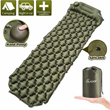 Volador Selbstaufblasbare Isomatte, Handpresse Aufblasbare Ultralight Isomatten Camping Schlafmatte, wasserdichte Feuchtigkeitsbeständige Campingmatratze, Luftmatratze Kompakte für Outdoor Armygrün - 1