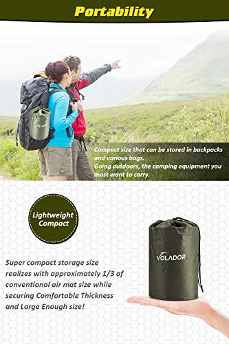 Volador Selbstaufblasbare Isomatte, Handpresse Aufblasbare Ultralight Isomatten Camping Schlafmatte, wasserdichte Feuchtigkeitsbeständige Campingmatratze, Luftmatratze Kompakte für Outdoor Armygrün - 5