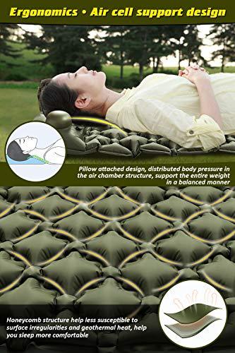 Volador Selbstaufblasbare Isomatte, Handpresse Aufblasbare Ultralight Isomatten Camping Schlafmatte, wasserdichte Feuchtigkeitsbeständige Campingmatratze, Luftmatratze Kompakte für Outdoor Armygrün - 6
