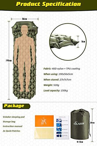 Volador Selbstaufblasbare Isomatte, Handpresse Aufblasbare Ultralight Isomatten Camping Schlafmatte, wasserdichte Feuchtigkeitsbeständige Campingmatratze, Luftmatratze Kompakte für Outdoor Armygrün - 7