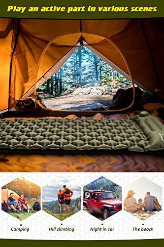 Volador Selbstaufblasbare Isomatte, Handpresse Aufblasbare Ultralight Isomatten Camping Schlafmatte, wasserdichte Feuchtigkeitsbeständige Campingmatratze, Luftmatratze Kompakte für Outdoor Armygrün - 8