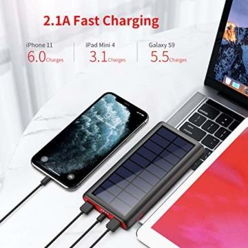 VOOE Solar Powerbank 26800mAh Externer Akku, Solar Ladegerät mit 2 Ausgänge, Solar Power Bank mit Automatische Erkennen Technologie, Solar Akkupack Power Pack für Smartphones, Tablets und USB-Geräte - 2