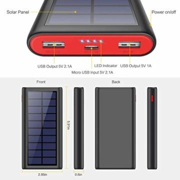 VOOE Solar Powerbank 26800mAh Externer Akku, Solar Ladegerät mit 2 Ausgänge, Solar Power Bank mit Automatische Erkennen Technologie, Solar Akkupack Power Pack für Smartphones, Tablets und USB-Geräte - 4