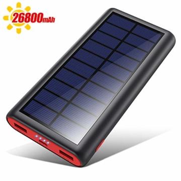 VOOE Solar Powerbank 26800mAh Externer Akku, Solar Ladegerät mit 2 Ausgänge, Solar Power Bank mit Automatische Erkennen Technologie, Solar Akkupack Power Pack für Smartphones, Tablets und USB-Geräte - 1