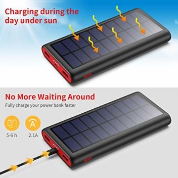 VOOE Solar Powerbank 26800mAh Externer Akku, Solar Ladegerät mit 2 Ausgänge, Solar Power Bank mit Automatische Erkennen Technologie, Solar Akkupack Power Pack für Smartphones, Tablets und USB-Geräte - 5