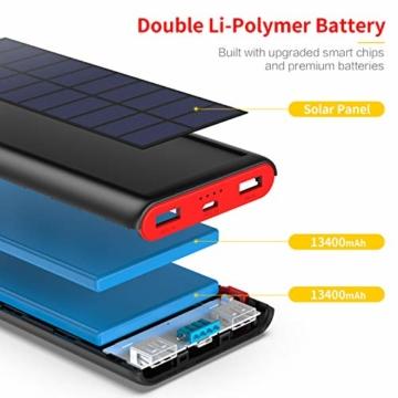 VOOE Solar Powerbank 26800mAh Externer Akku, Solar Ladegerät mit 2 Ausgänge, Solar Power Bank mit Automatische Erkennen Technologie, Solar Akkupack Power Pack für Smartphones, Tablets und USB-Geräte - 6